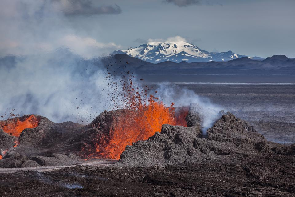 On August 29, 2014 a fissure eruption started in Holuhraun after moving north from the Bardarbunga stratovolcano located under Vatnajokull, Iceland's most extensive glacier.