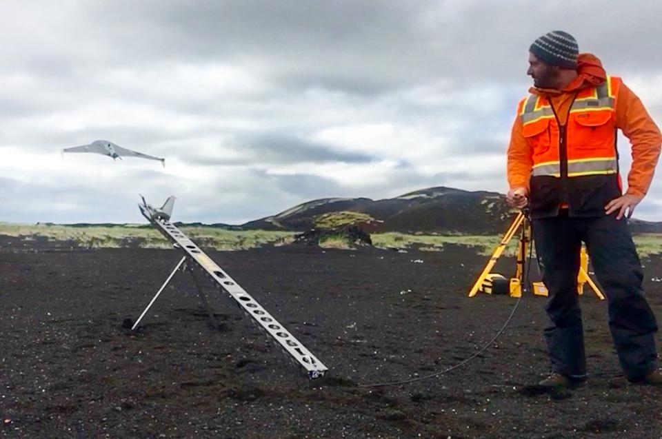 Christopher Hamilton pictured next to drone in Iceland.
