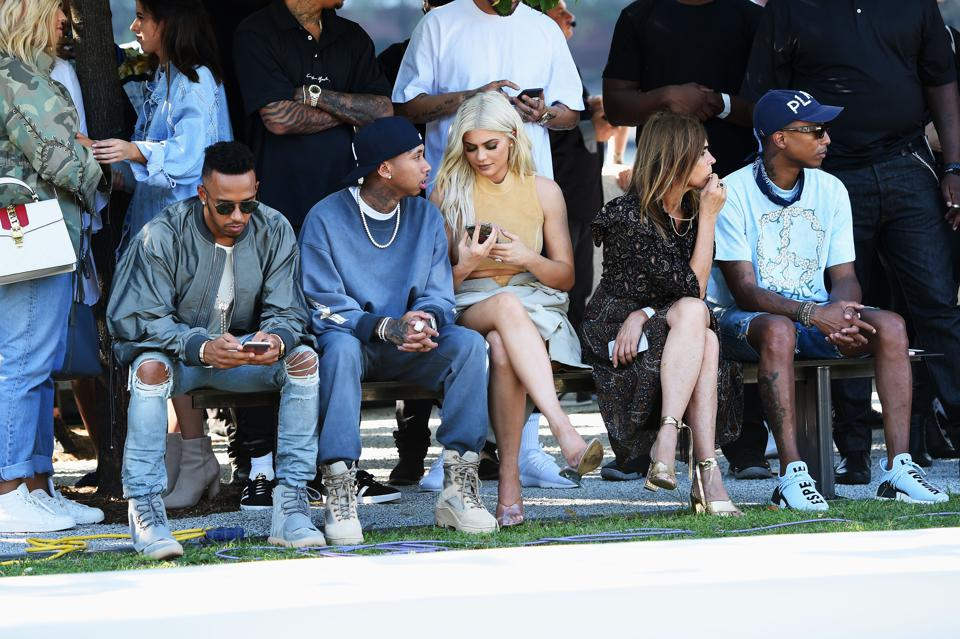 Kylie Jenner (center) at the Kanye West Yeezy Season 4 fashion show in New York City.