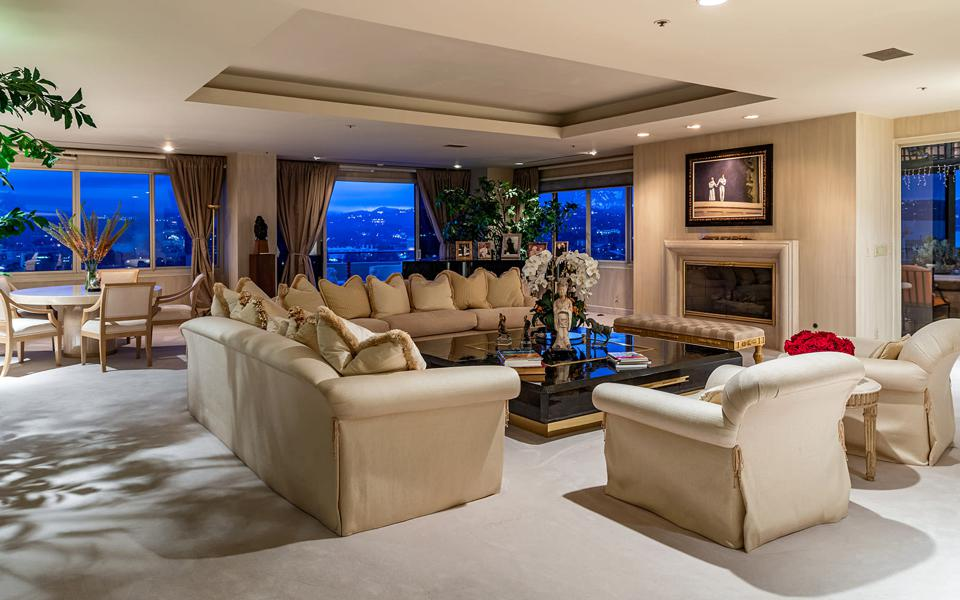 A penthouse living room.