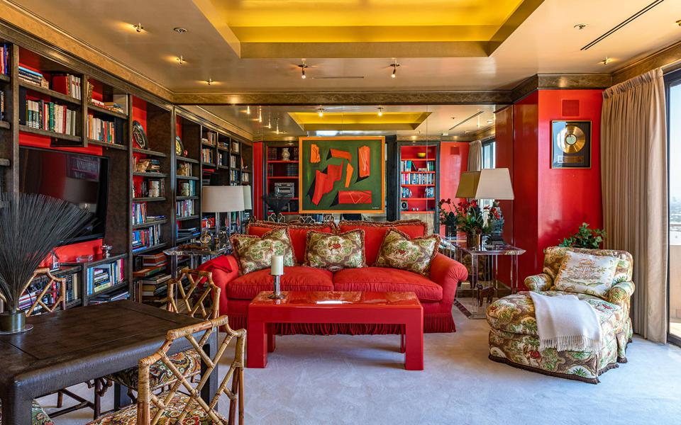 The library/den in a Los Angeles penthouse.