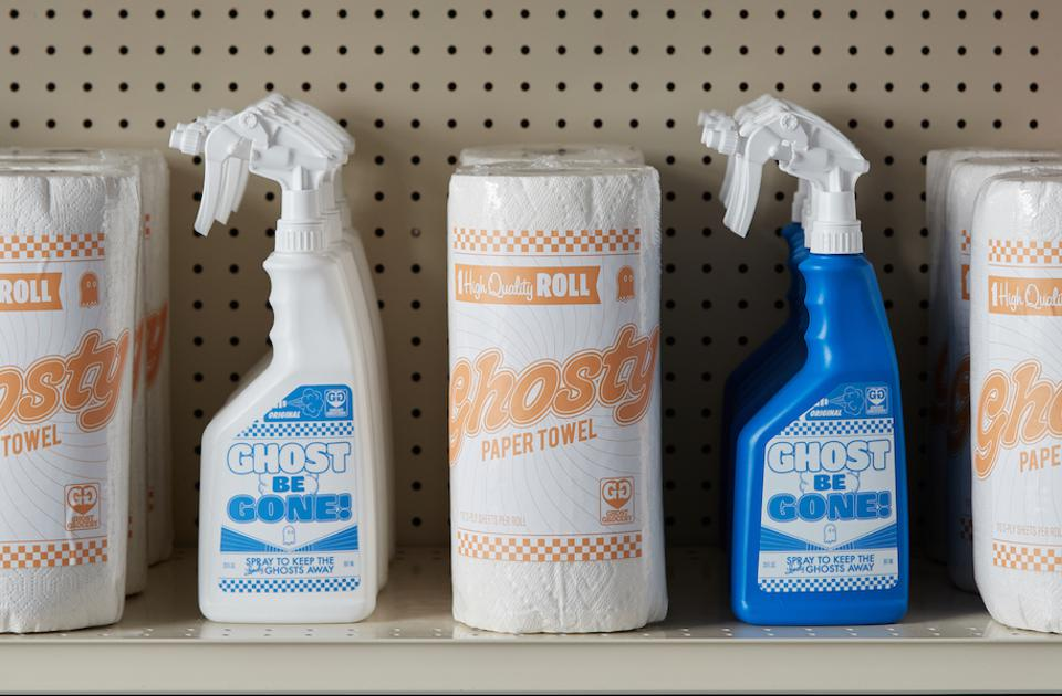 Grocery store shelf with Lonely Ghost paper towels and cleaning spray
