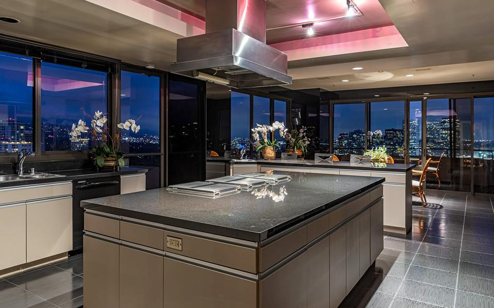 The kitchen in a Los Angeles penthouse.