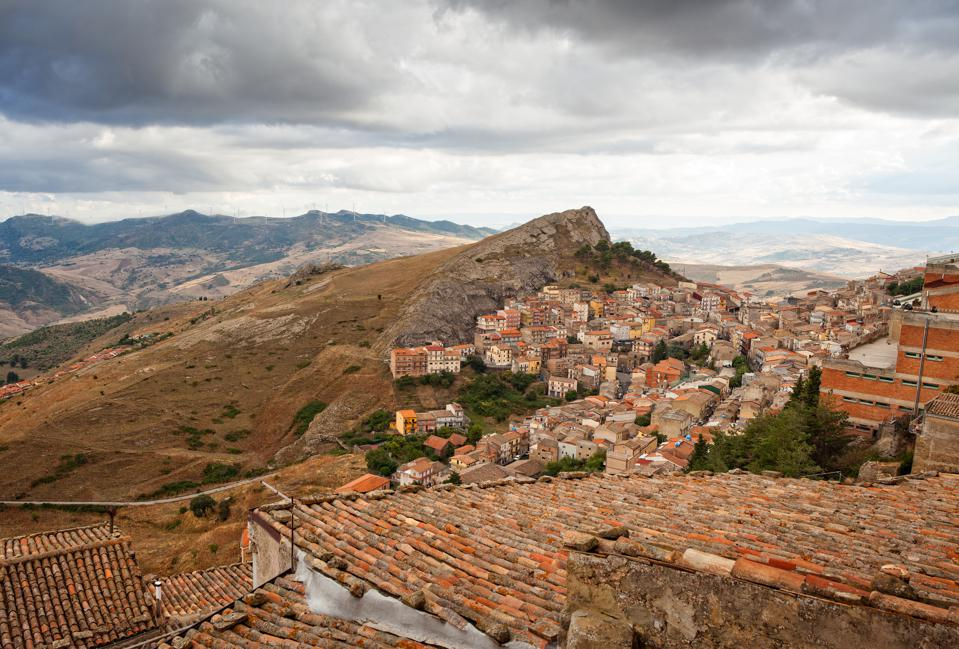 View of Troina, a little town in Sicily