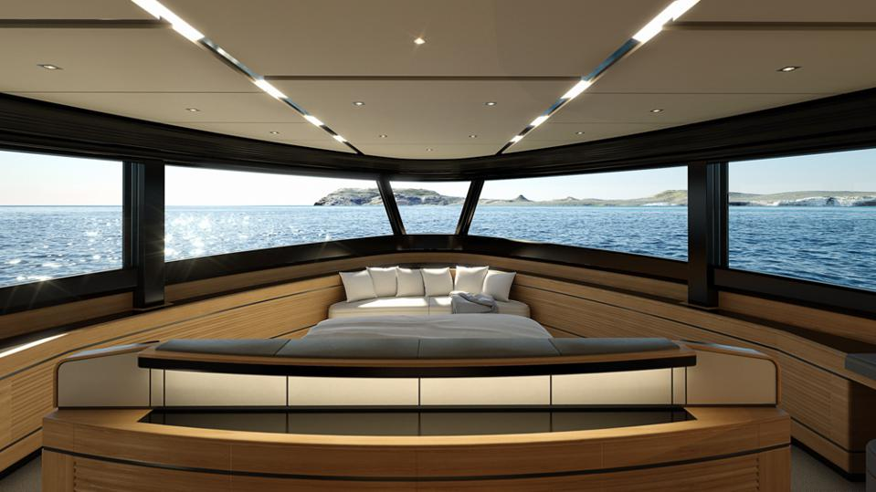 The 78-foot-long WHY200 has an owners suite that's more luxurious than many 200-foot-long superyachts!