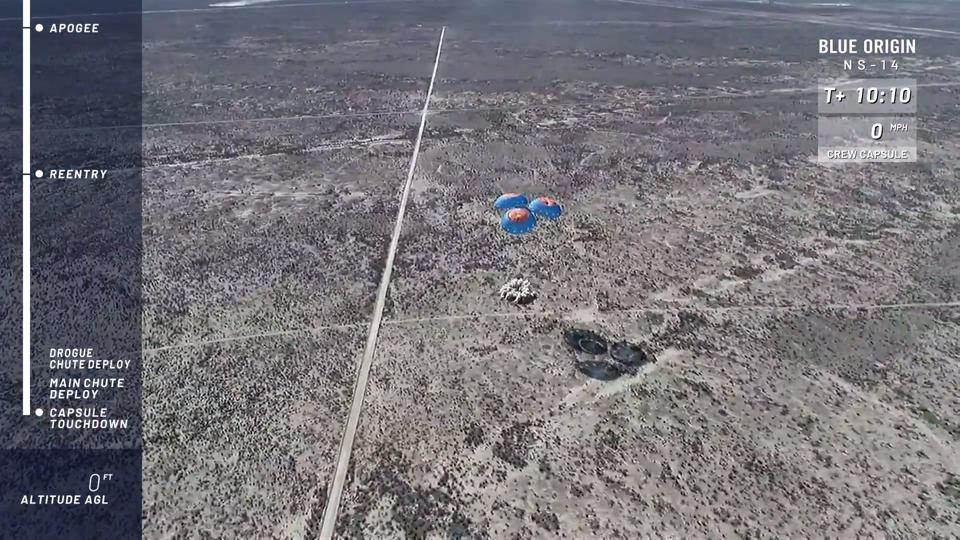 NS-14 crew capsule landing