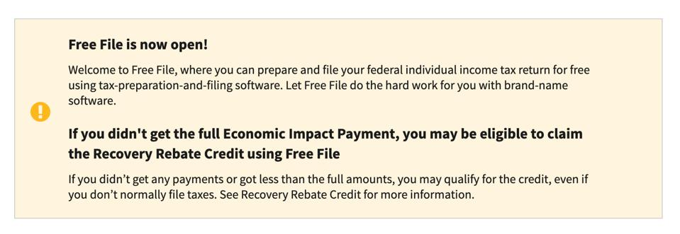 IRS Free File page on website