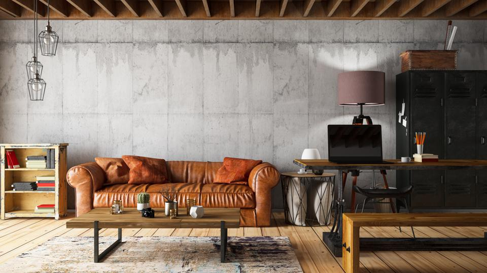 Loft Interior with Leather Sofa