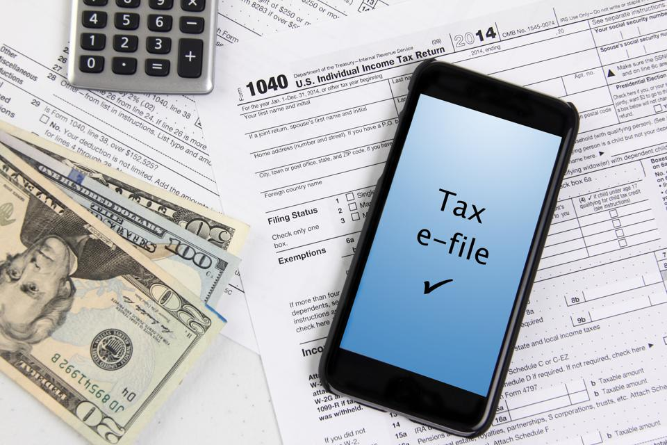 Filing taxes using a mobile phone