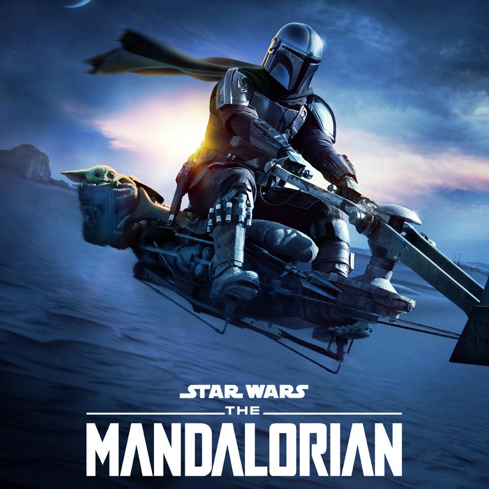 The Mandalorian on a speeder bike.