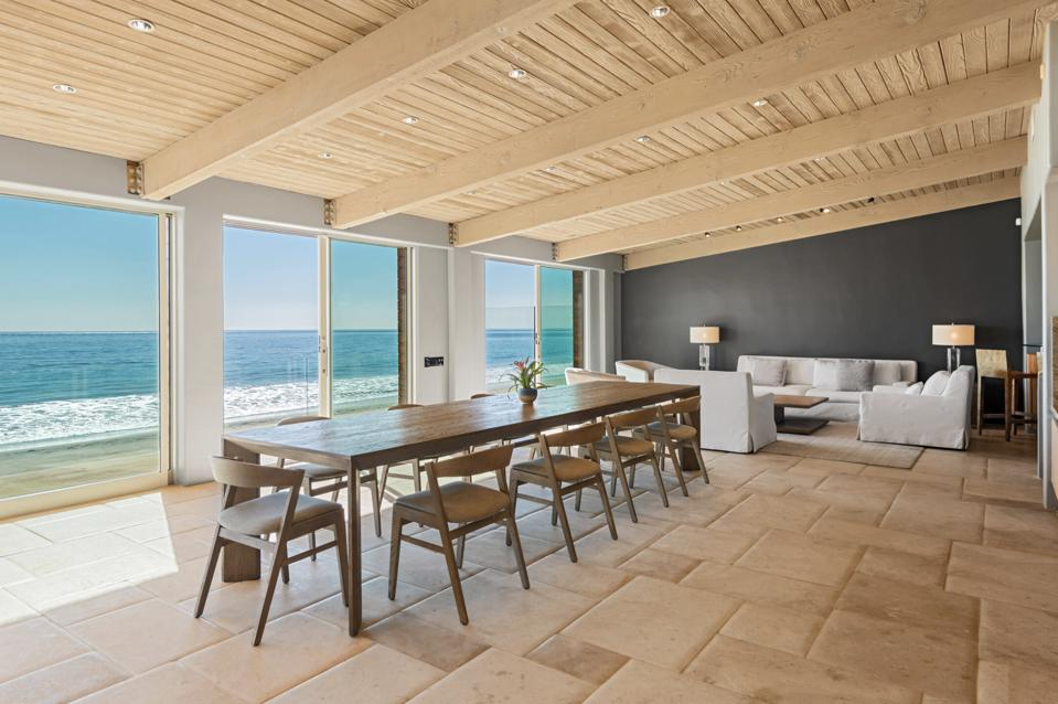 Sliding glass doors looking out to the beach