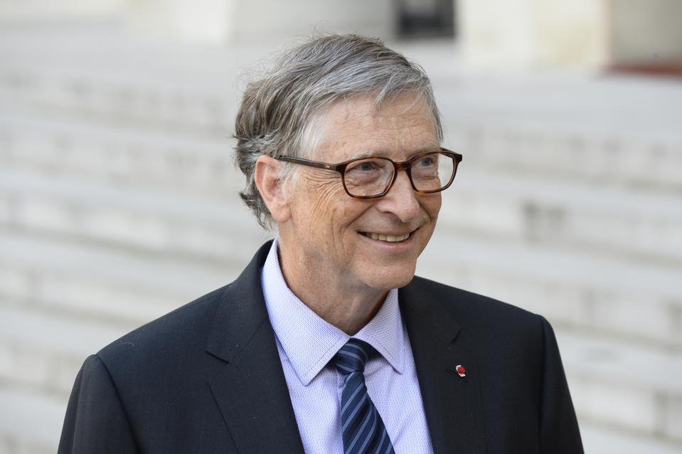 French President Emmanuel Macron Receives Bill Gates At Elysee Palace