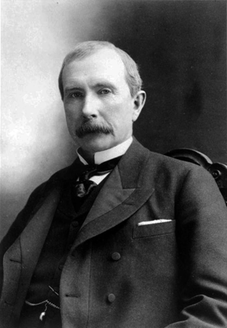 Black and white image of America's first monopolist John D. Rockefeller.