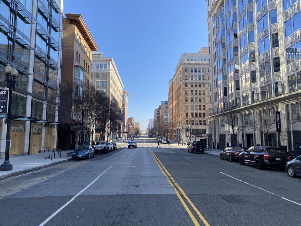 Washington Inauguration streets empty