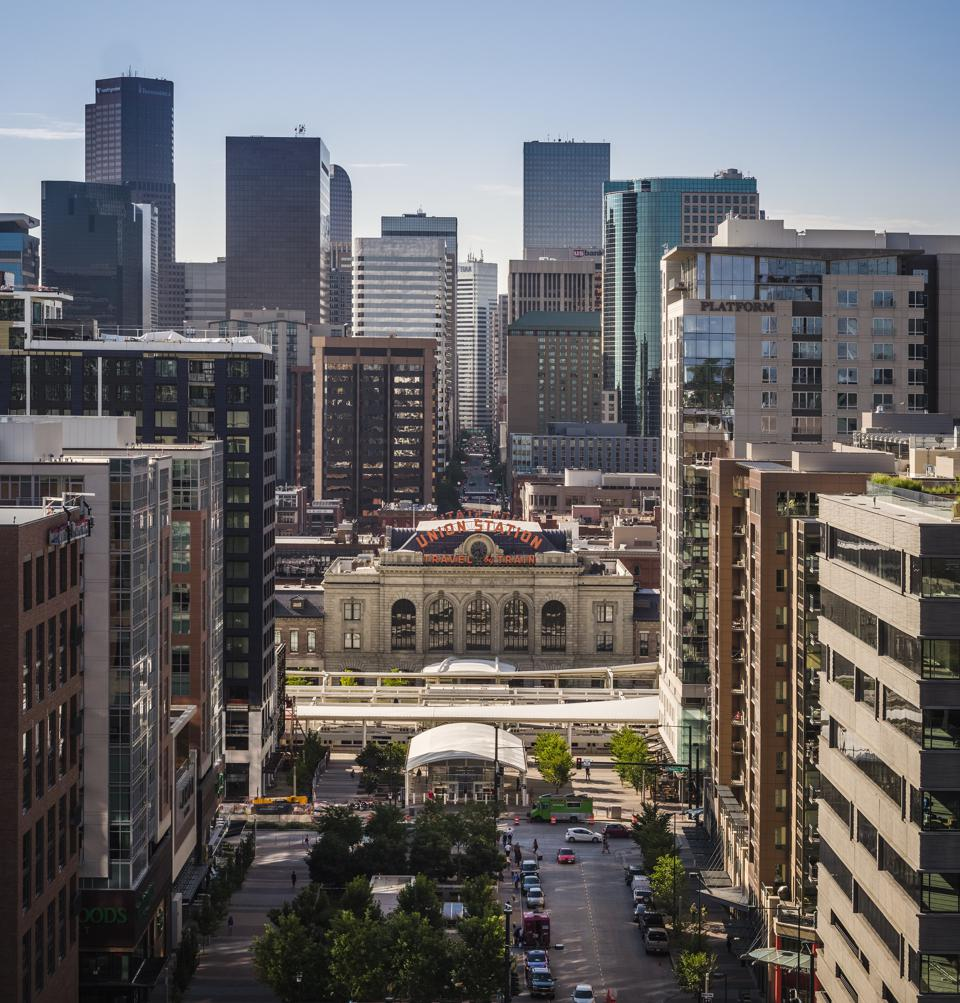 An aerial view of Union Station in downtown Denver, Colorado.