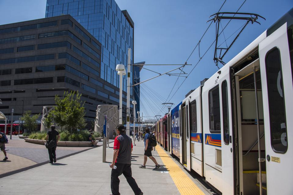 The rapid bus terminal at Union Station in downtown Denver, Colorado.