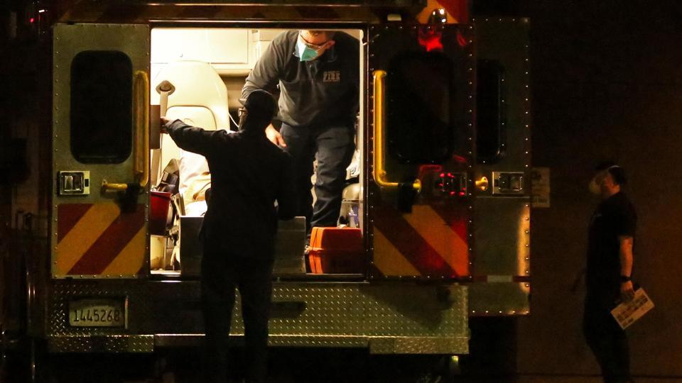 Paramedics bring patients toi White Memorial Hospital - during the Coronavirus pandemic