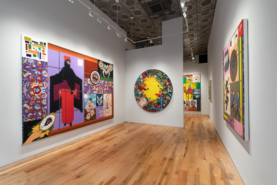 Installation view, Amir H. Fallah, ″Better a Cruel Truth Than an Comfortable Delusion″ exhibition at Denny Dimin Gallery New York.