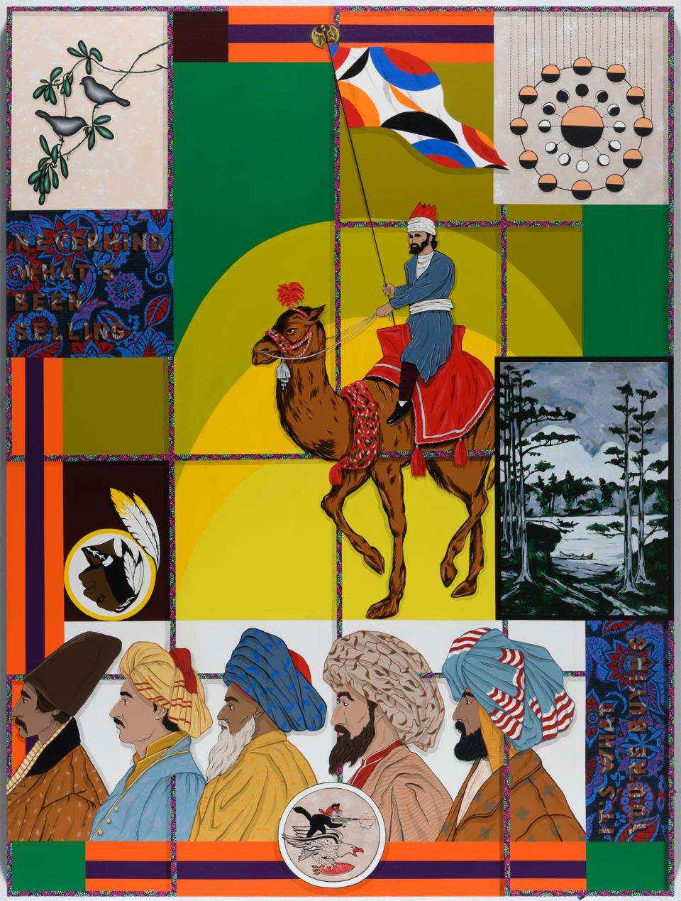 Amir H. Fallah, 'Nevermind What's Been Selling, It's What You're Buying,' 2020. Acrylic on panel. 96h x 72w in 243.84h x 182.88w cm.