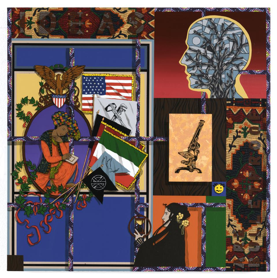 Amir H. Fallah, 'Ideas are Bulletproof,' 2020. Acrylic on panel. 36h x 36w in 91.44h x 91.44w cm.