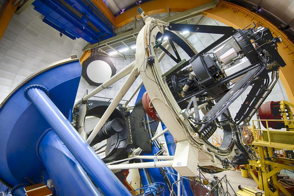 Professional telescope inside the protective dome.