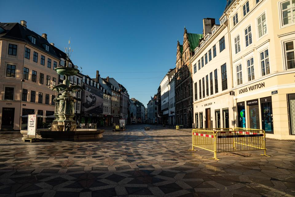 The famous ″Stroeget″ pedestrian street in Copenhagen, Denmark, is empty during the corona closure, on January 12, 2021.