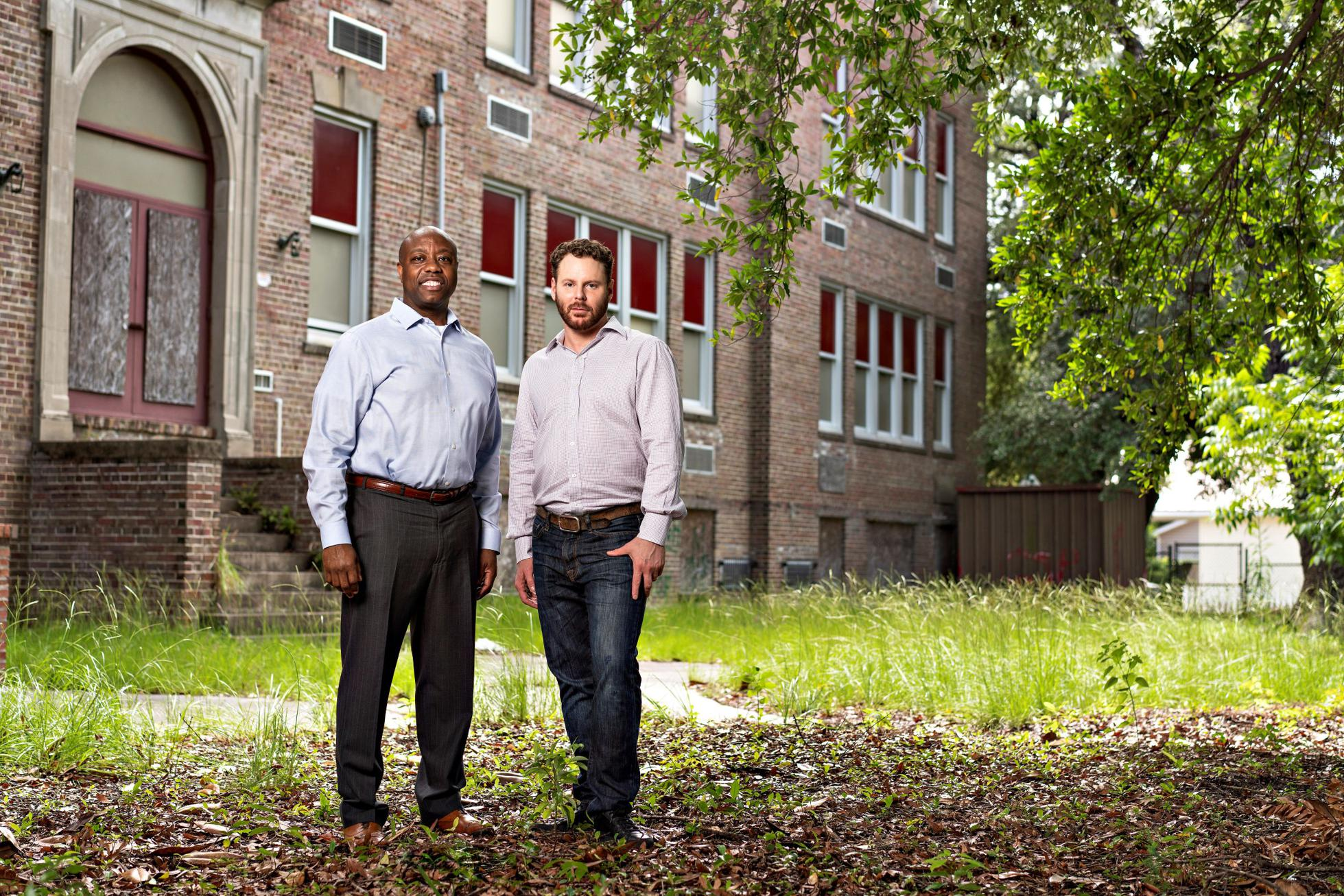 Sen. Tim Scott (R-SC) and Sean Parker tour the senator's childhood neighborhood as an example of the areas that can see investment through the opportunity zone program.