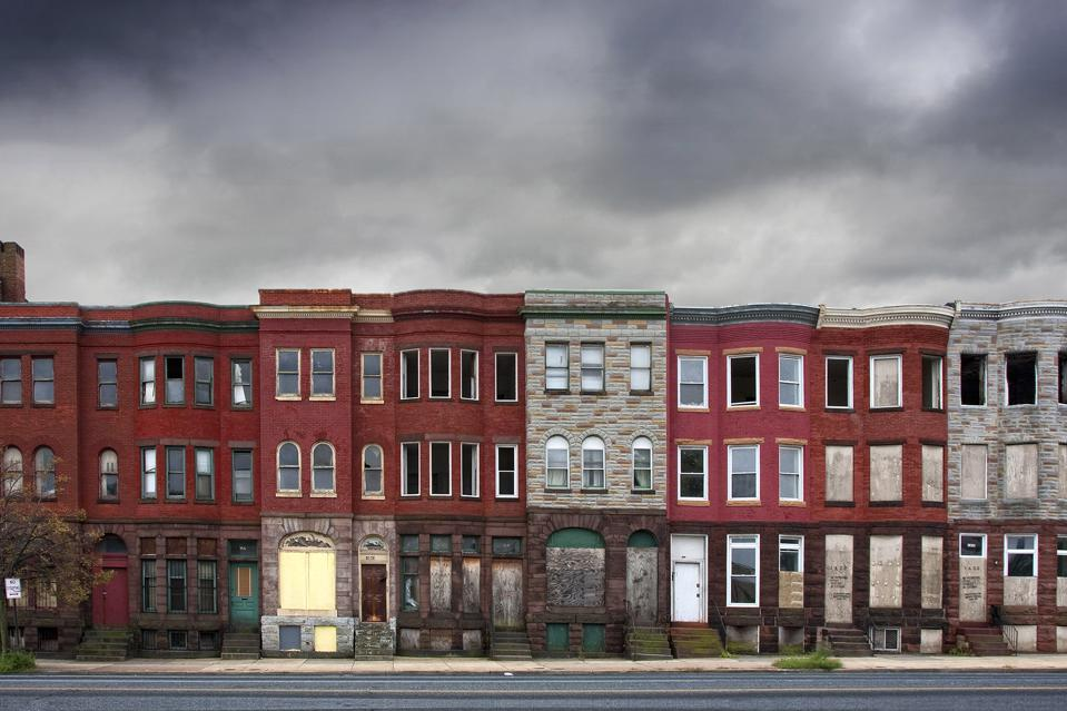 Abandoned rowhouses in Baltimore City, the type of areas that the program looks to target.