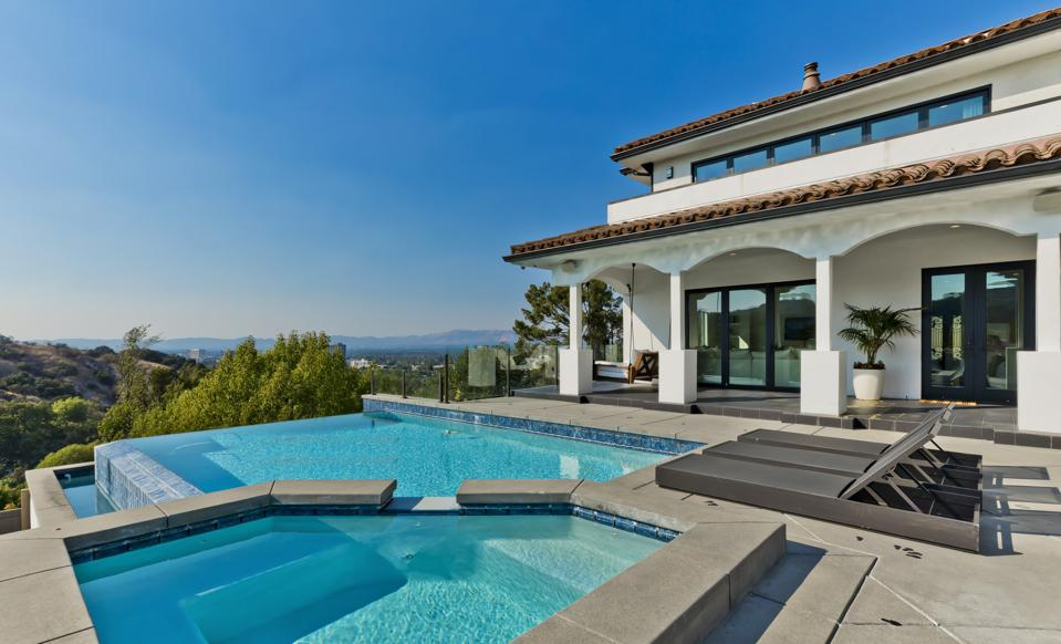 The swimming pool at a luxury home in Los Angeles.
