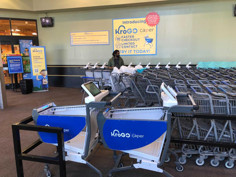 The nation's largest supermarket chain has introduced high-tech carts at a store in Cincinnati.