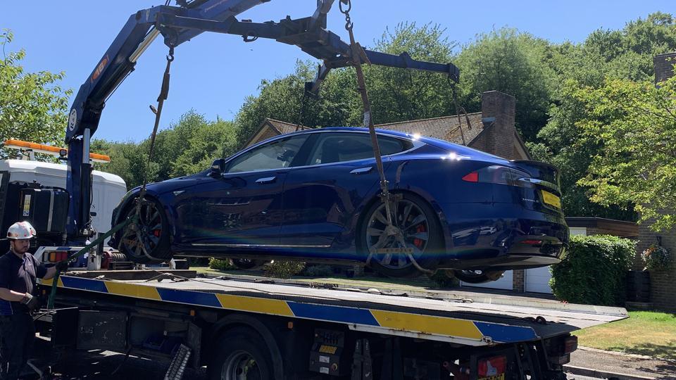 Tesla Model S on tow truck