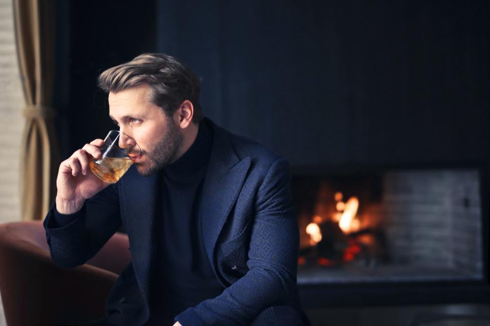 handsome man drink wine