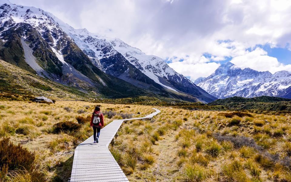 Aoraki Mount Cook National Park's famed Hooker Valley Trail on New Zealand's South Island.