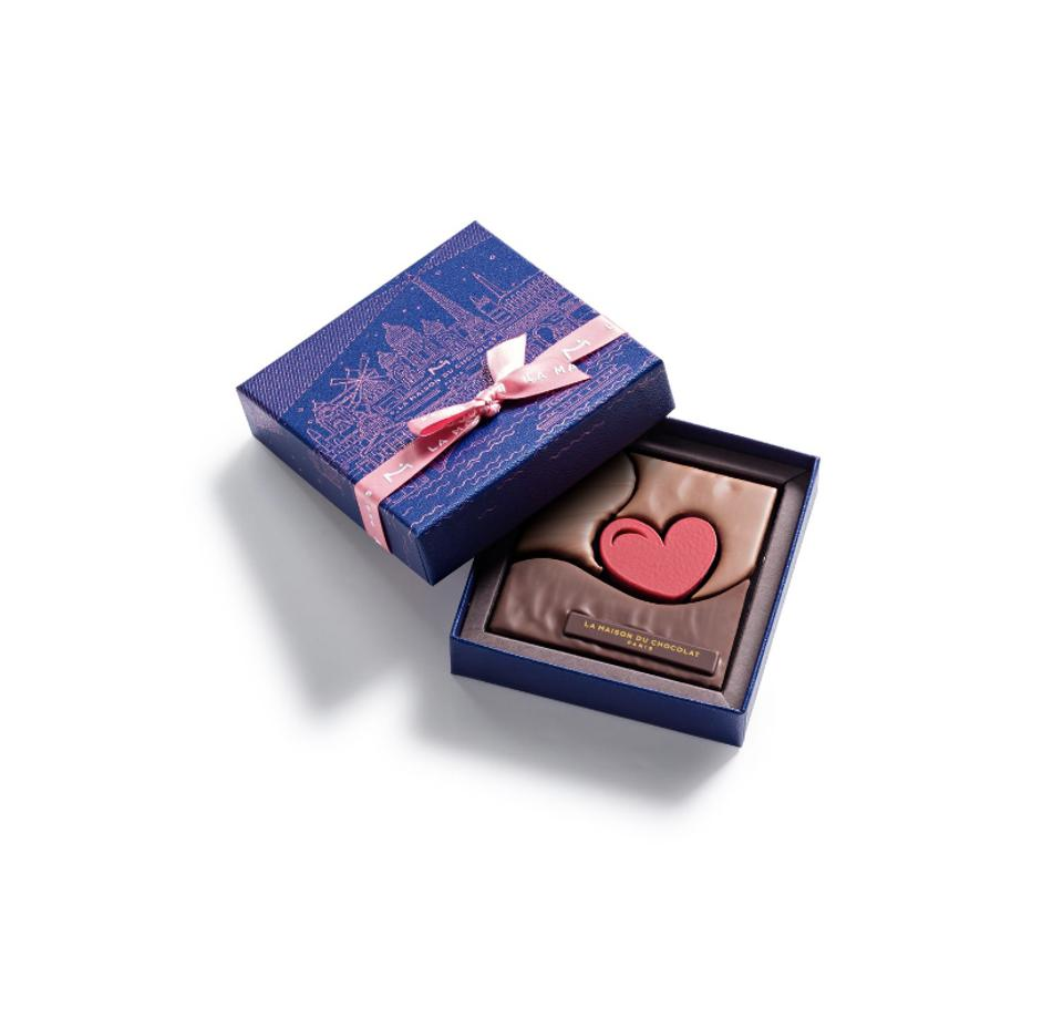 four piece chocolate box for valentine's day from paris, france maison du chocolate