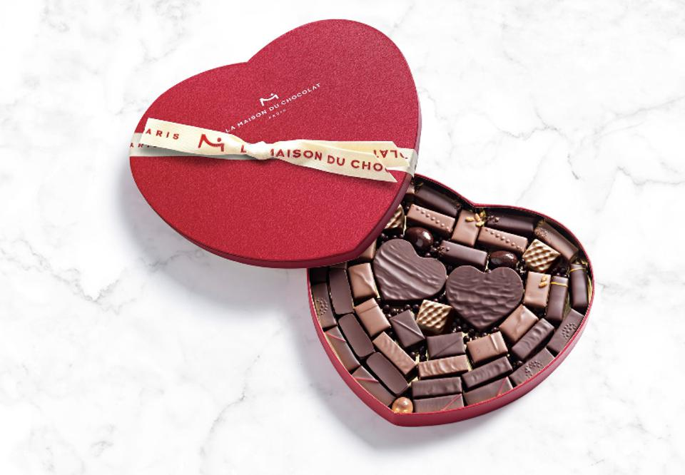 a heart shaped box of chocolates for valentine's day from paris, france