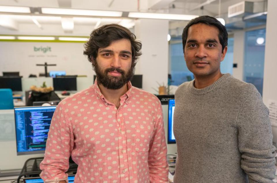 Brigit co-founders Hamel Kothari (left, CTO) and Zuben Mathew (right, CEO).