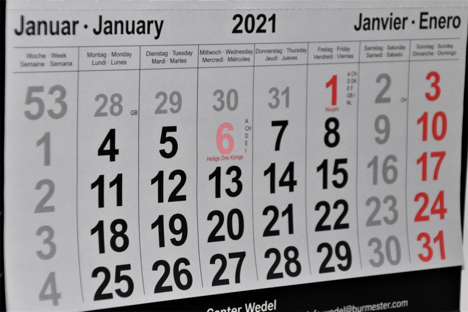 Calendar of January 2021
