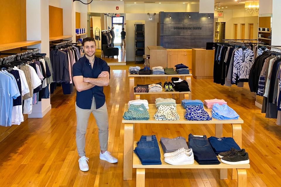 Andreas Chronis in one of his two Beginnings Bleus clothing stores.
