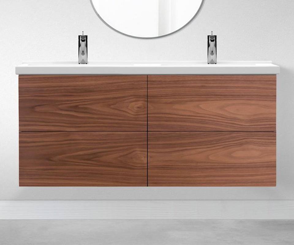 walnut wood bathroom vanity