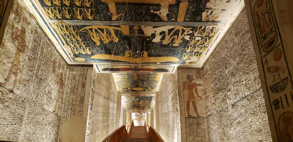 Wall paintings and hieroglyphics within a tomb in Egypt's  Valley of the Kings