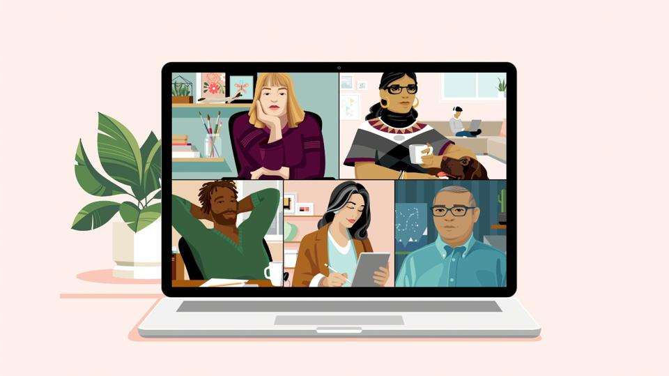 Graphic of 5 people on a video conference showing challenges of working from home.
