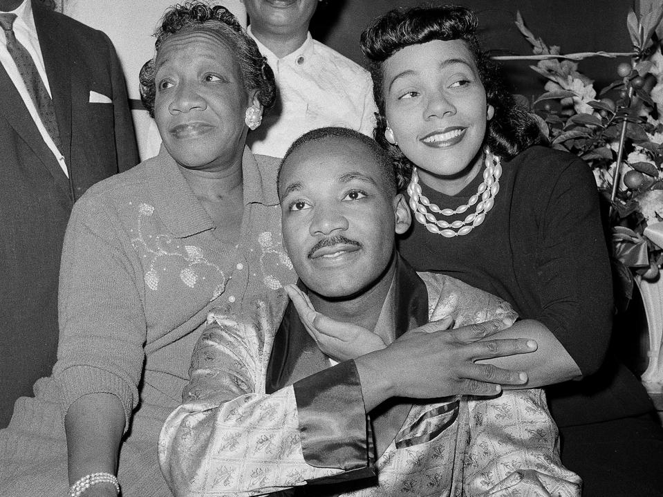 Mrs. Alberta Williams King (left) with her son, Dr. Martin Luther King Jr. and daughter-in-law, Coretta Scott King.