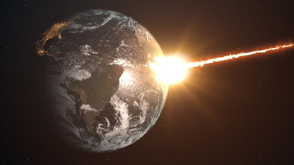 Meteor impact on planet Earth