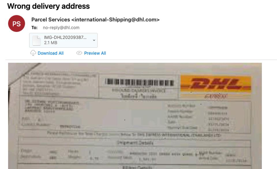 Fake DHL delivery email