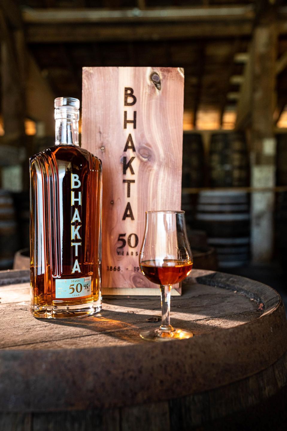 A bottle of Bhakta 50 Brandy