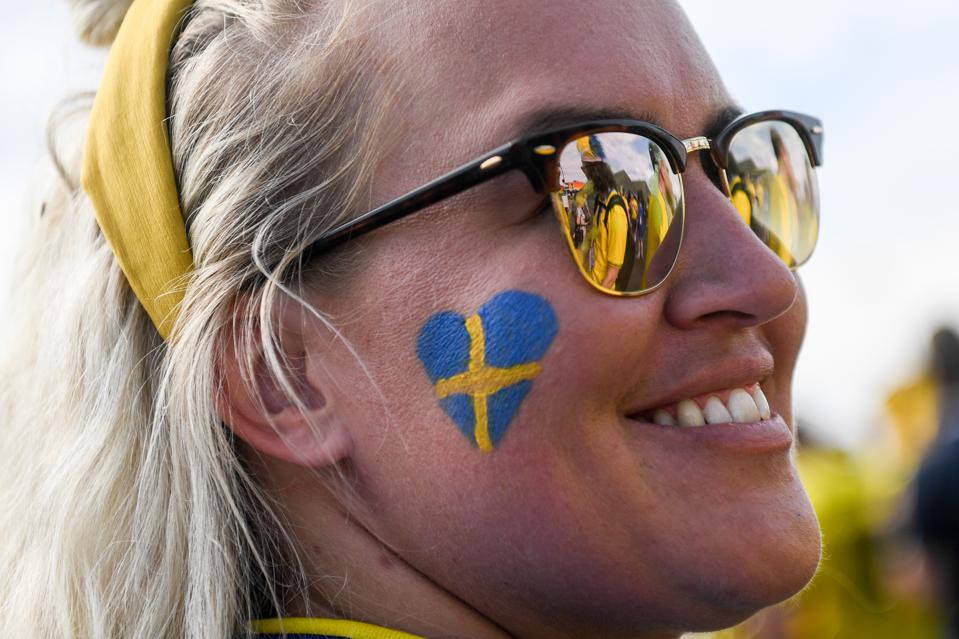 A Sweden soccer fan at the 2018 FIFA World Cup quarter-finals.