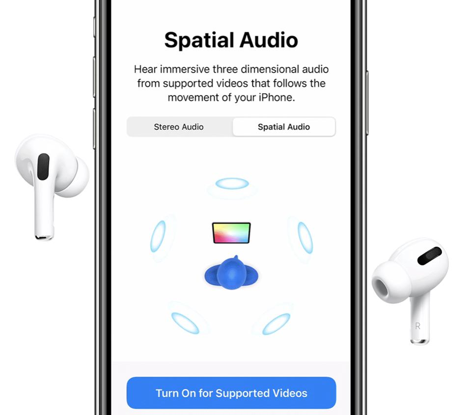 Apple's neat Spatial Audio demo for AirPods Pro and AirPods Max.