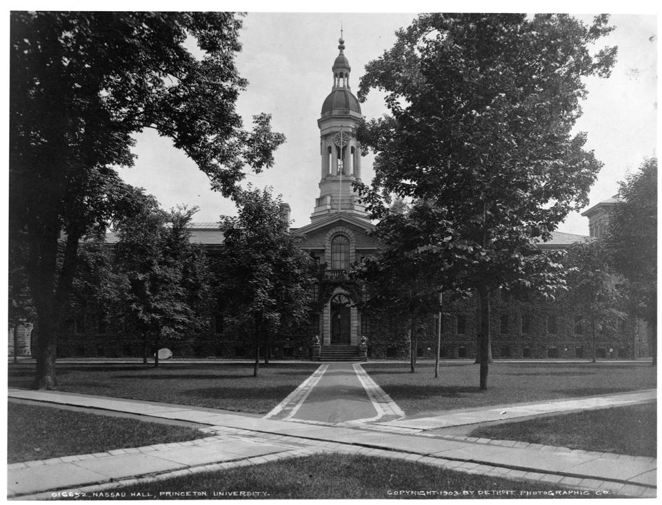 (New Jersey); Nassau Hall, Princeton University; 3 photoprints, c1903 by Detroit Photographic Co. (no. 016648, no. 016652, and no. 016888 respectively