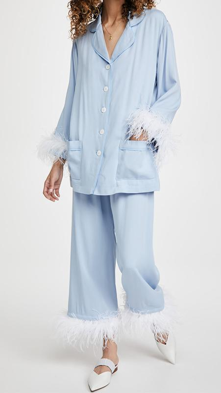 The Sleeper Party Pajama Set With Feathers