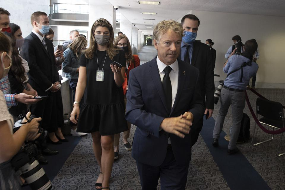 Rand Paul face mask Covid-19 vaccine